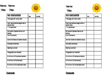 Writing Checklist - No Excuses