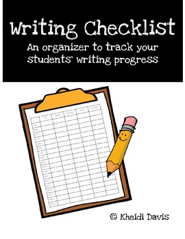 Writing Checklist - Organizer to Track Students' Writing