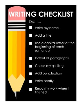 Writing Checklist Poster