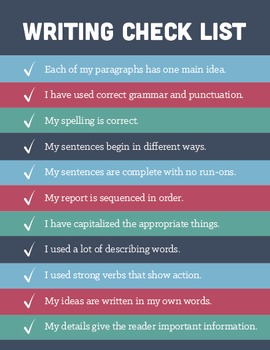 Writing Checklist Poster (8.5x11)