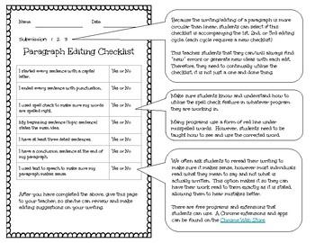 Writing Checklist & Rubric