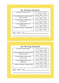 Writing Checklist - Self Assessment - Formative Assessment - Learning Goals