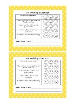Writing Checklist - Self Assessment - Formative Assessment