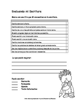 Writing Checklist (Spanish)