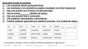 Writing Checklist Spanish