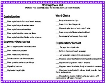 Writing Checklist and Essay Reflection