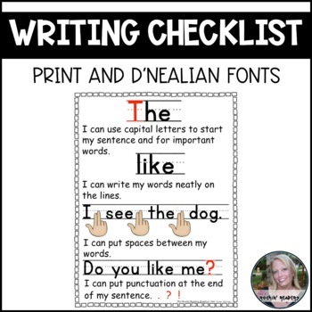 Writing Checklist for Beginning Writers FREEBIE Print Font