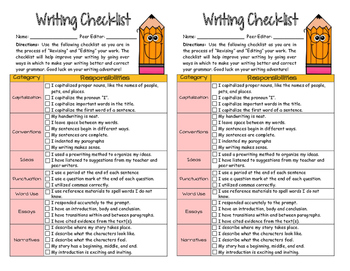 Writing Checklist for Essays and Narratives