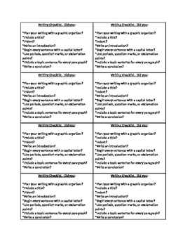 Writing Checklist for Student's Desk
