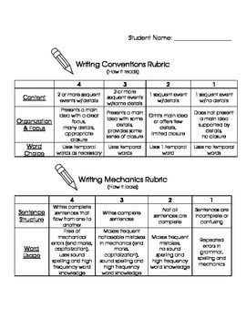 Writing Checklist for Students, Rubric for Teachers