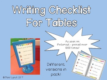 Editable Writing Checklist for Table/Ikea Stands