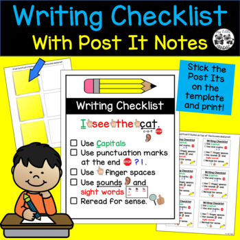 Writing Checklist with Post It Notes