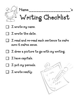 Writing Checklist -  worksheet w/ SMARTBOARD display