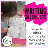 Writing Checklists {for Self and Peer Editing}