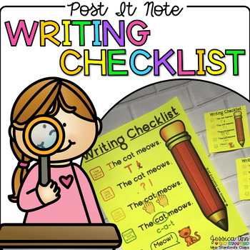 Post It Note Writing Checklist {Print on Cardstock or Post