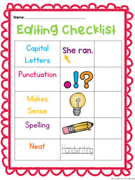 Editing and Revising Checklists: Writer's Workshop