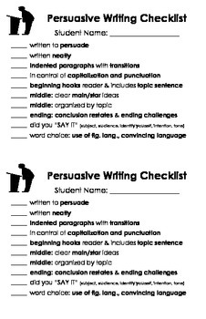 Writing Checklists: Narrative, Descriptive, Expository, Persuasive