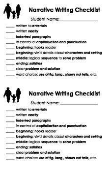 Writing Checklists: Narrative, Descriptive, Expository, Pe