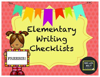 FREEBIE! Elementary Writing Checklists