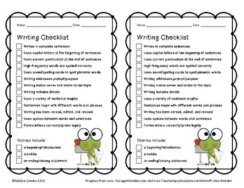 Writing Checklists for the Primary Classroom