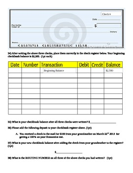 writing checks check registers and consumer price index activity worksheet