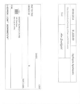 Writing Checks- Paying Bills