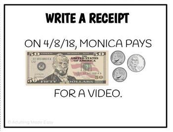 Writing Checks & Receipts Task Card Activity Life Skills