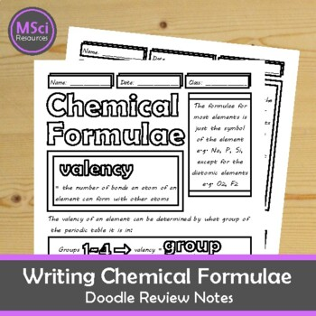 Writing Chemical Formulae Middle, High School Chemistry Doodle Notes
