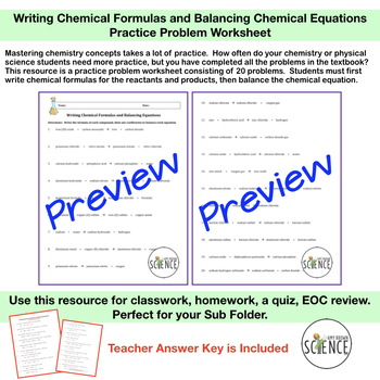 writing and balancing chemical equations worksheet Chemistry - how to write a balanced equation given the word equation, practice with writing and balancing equations, examples with step by step solutions, write.