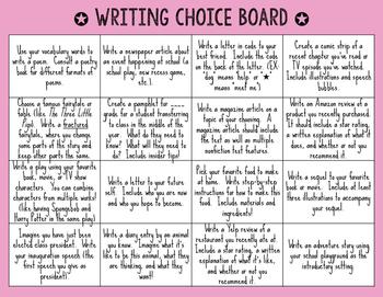 Writing Choice Board