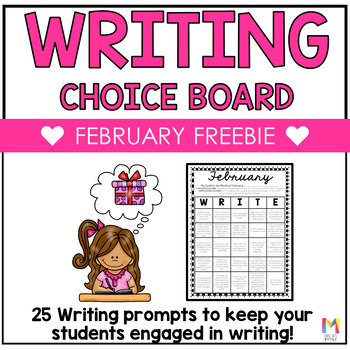 Writing Choice Board - February FREEBIE
