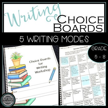 Writing Choice Board {Narrative, Expository, Research, Persuasive, Opinion}