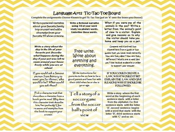 Writing Choice Board for Common Core Language Arts Writing Center