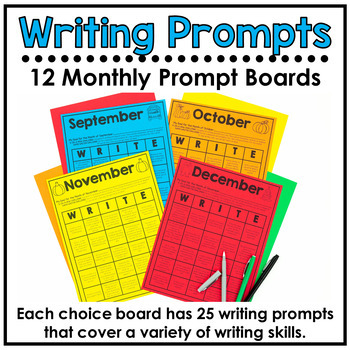 Writing Prompt Choice Boards For Entire Year