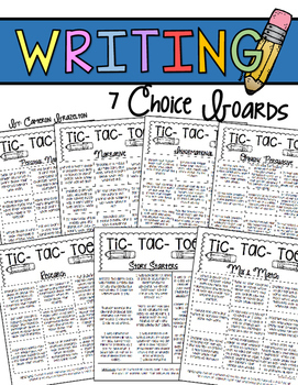 Writing Choice Boards (Narrative, Informational, Opinion, Research)