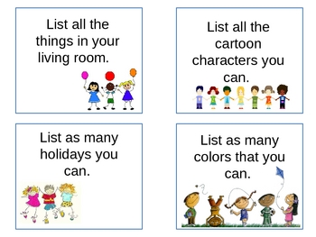 Writing Choice Cards- Making Lists