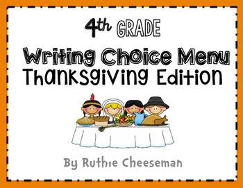 Writing Choice Menu Thanksgiving Edition