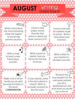 5th Grade Writing Choice board- 10 month set