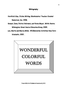 Writing- Choosing Wonderful, Colorful Words