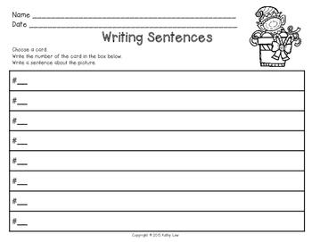 Writing Christmas Sentences Task Cards