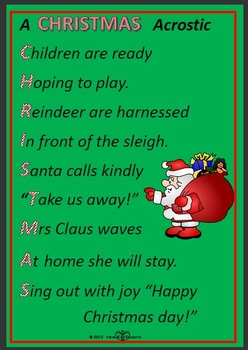 Christmas Poem.Writing Christmas Poems With Early Childhood Students