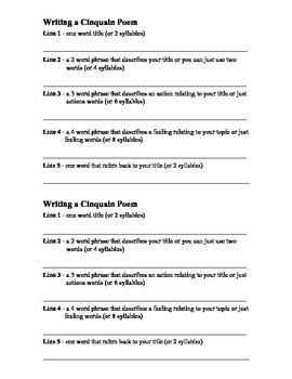 Writing Cinquain Poems - Poetry Unit