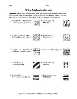 Writing Circle Equations Zen Math