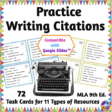 Practice Writing Citations in MLA Format with Task Cards