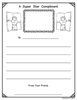 Writing Compliments (Writing Center) 6 Different Pages - Kindergarten and First