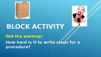 Writing Clear Steps Science Activity