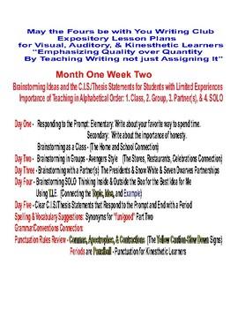 Writing Club  Month One Week Two  Blah Blings and Bling Blings of Brainstorming
