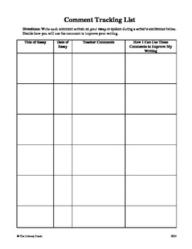 Writing Comments Tracking Sheet
