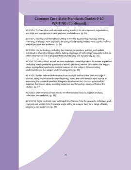 Writing Common Core Question Stems and Annotated Standards - Grades 9-10