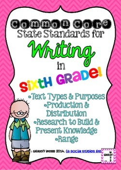 6th grade Writing Common Core Standards Posters